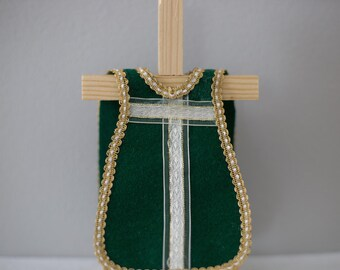 single Green Felt Vestment with White and Gold Ribbon