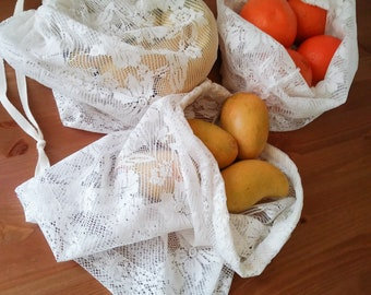 Set of 3 Reusable Lace Produce Bags | Zero Waste | Eco Friendly Drawstring Bags