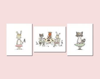Girl Nursery Art - Woodland Animal Princess Art - Set of 3 Prints - Animal Princess Tea Party Collection - Fox Bunny Raccoon - Kids Wall Art