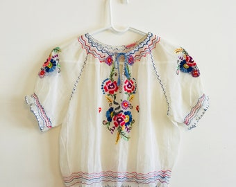 30s Hungarian blouse, Embroidered blouse, Ethnic peasant blouse, Floral gypsy blouse, 40s Bohemian blouse, 20s folk art blouse, 1930s blouse