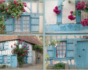 French Country Photos - Four Fine Art  Photographs, Cottage with Roses, France, Home Decor, Wall Art