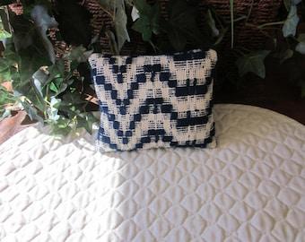 Primitive Antique Coverlet Pillow, Navy & White