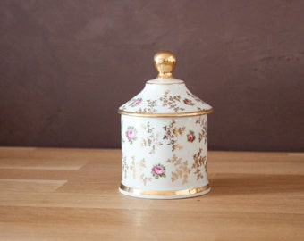 Limoges romantic porcelain Jar and Lid with Painted Floral Decor - Apothecary Jar shape - Antique French home decor - shabby chic