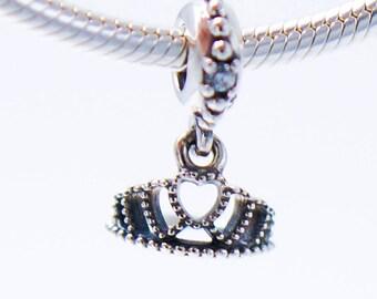Disney Princess Crown Charm S925 Crown Charm Princess Charm Crown Beads Princess Crown Bead Fits European Charm Bracelet European Beads