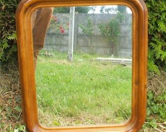 Mirror, wood, vintage, rounded corners.
