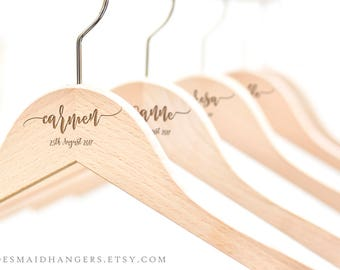 Wedding Hanger, Bridesmaid Proposal Gift, Bridal Dress Hanger, Personalized Wedding Dress Hanger, Custom Name Hanger H01