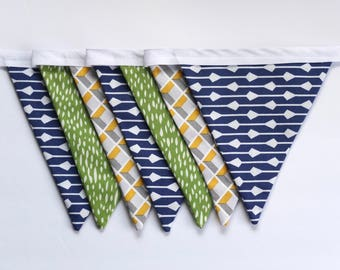 Fabric Bunting Garland Banner - Navy Blue Green Yellow Grey - Double-Sided - Modern Boy Room/Nursery/Party Decor
