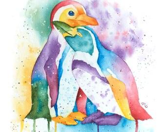 Watercolor Penguins, Pride Penguins, Standard Art Print, Painting, Artwork, Watercolor Painting, Watercolor, Equality