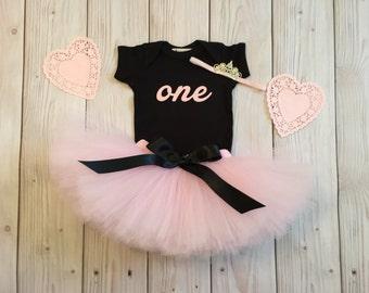 Pink Baby Girl 1st Birthday Outfit | Baby Tutu | Tutu Dress | Birthday Dress | Baby Girls Cake Smash Outfits | Birthday Tutu | Black