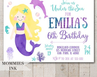 Mermaid Birthday Invitation, Mermaid Invitation, Blonde Mermaid, Under the Sea Invitation, Ocean Invitation, Mermaid Party, Birthday Party