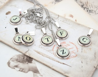 Monogram Necklace White Typewriter Key Pendant Necklace Ivory Letter Jewelry Initial Serif Font Necklace Typewriter key Jewelry