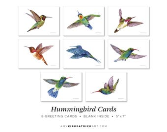 Hummingbird Greeting Cards Pack of 8, 5x7, Blank Inside, Hummingbird Note Cards, Watercolor Hummingbird Cards, 8 Different Hummingbird Cards