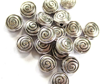 24 Antique Silver metal beads spacers swirl pattern jewelry making supplies 8mm x 4mm LF1074