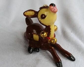 Vintage Porcelain Napco Reindeer with Bells Japan 1950s