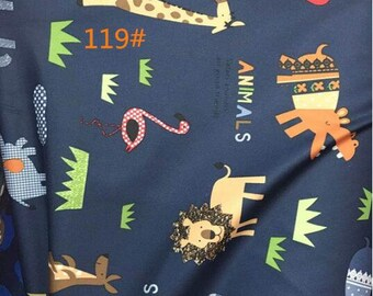 Cute Animals Kid Fabric for Down Coat Waterproof  Print Blue Color