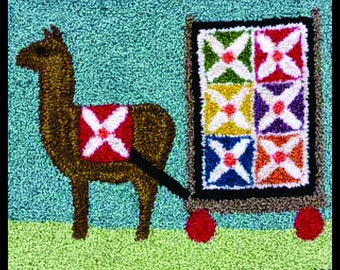 """DIGITAL Punch Needle Pattern - August Llama Quilter - BS 137 5""""x6.25"""""""