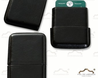 Black leather Card Holder, black skin card