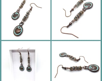 Wrapped Labradorite Chip and Copper Drop Dangles