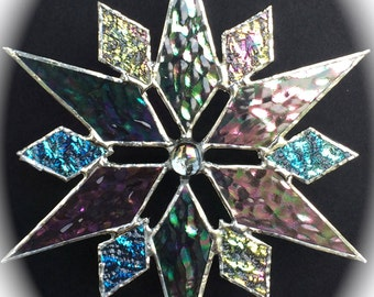 stained glass snowflake suncatcher  (design 8C)