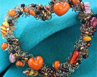 Romantic heart orange black beaded wreath romantic wall decor OOAK  brass sliver copper wire wrapped heart wreath