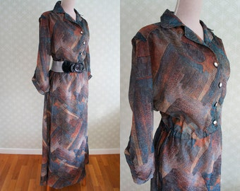 70s sheer vintage maxi dress. Shirt maxi dress. Abstract print. Great for party.