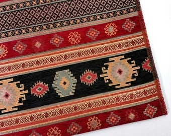 Ethnic Tribal Style Chenille Upholstery Fabric, Aztec Navajo Fabric, Geometric Design Kilim Fabric, Black Red, by the Yard/Metre, Ach-004