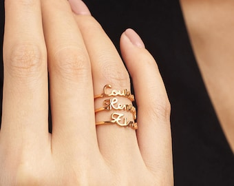 Stacking Name Ring • Stackable Name Ring • Gold Stacking Ring • Personalized Name Jewelry • Dainty Gold Ring (Price is for ONE ring) CNR17