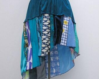 Blue skirt, plus size skirt, upcycled skirt, patchwork skirt, deconstructed skirt, refashioned skirt, 1x 2x 3x 4x 5x, boho festival skirt