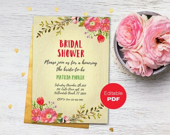 Floral Bridal Shower invitation Bridal Shower invite Rustic bridal shower invitation Wedding shower diy invitation Editable bride invitation