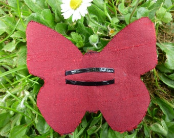 Red silk Butterfly Barrette
