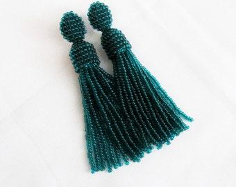 Emerald tassel earrings Beaded tassel earrings Oscar tassel earrings Jewelry handmade fringe earrings  Long  fringe earrings