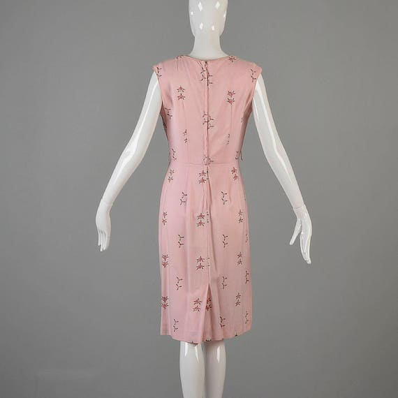 Small Simple Dress Pink Vintage Flowers 1950s Sleeveless Dress Day Dress Embroidered Dress Summer Pencil YqwrHYUx4