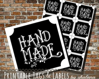 """Printable PDF Chalkboard """"Hand Made"""" Labels or Stickers"""