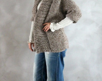 Hand Knitted Chunky Cardigan Womens Knit Sweater Custom Made Cardigan Gift for her gift for wife gift for girlfriend gift for mom