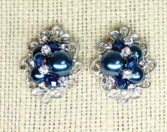 Navy Pearl Earrings- Navy Bridal Posts- Blue Pearl Earrings- Sapphire Blue Earrings- Blue Wedding Earrings- Brass Boheme- Blue Clip Earrings