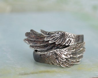 sterling silver wing ring set WINGED oxidzied sterling silver ring set for you and the other yourself