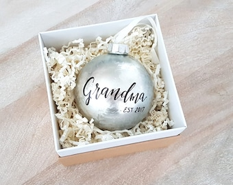 Personalized GRANDMA ORNAMENT, Christmas Ornament, Grandpa, Grandparents - One (Silver)
