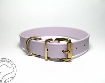 """Pastel Purple Lavender / 1"""" (25mm) Wide / Biothane Dog Collar / Leather Look and Feel / Stainless Steel or Brass Hardware"""