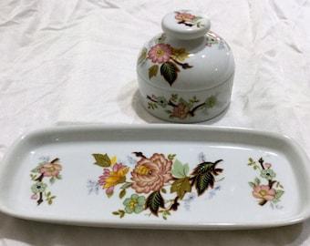 Royal Porzellan Bavaria KPM Jar and Tray Colorful Flowers & Blossoms Germany