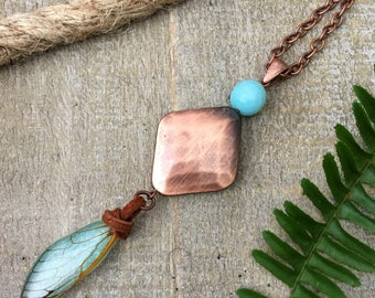 Nature Necklace, Real Insect Necklace, Copper Necklace, Cicada Wing, Nature Inspired, Bug Jewelry, Preserved Specimen, Eco Resin, Entomology