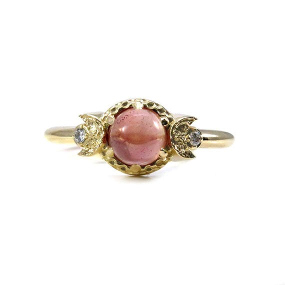 Pink Oregon Sunstone Gold Moon Ring with Tiny Diamonds - Alternative Engagement Ring