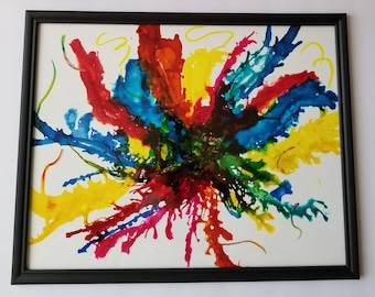 "Original hand painted alcohol ink modern abstract decorative on yupo in frame. ""Splash"""