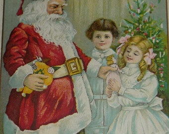 Santa Claus Giving Doll to Little Girl Antique Christmas Postcard
