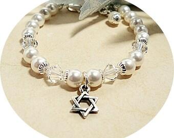Mädchen Davidstern, Perlen, Kristall, Blumenmädchen, elegant, jüdischen benennen, Kleinkind, Baby-Geschenk, Kinderarmband, Baby
