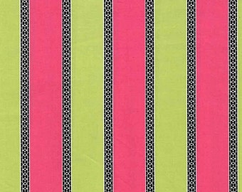 Quilting cotton fabric by the yard, pink green stripe fabric yardage, 100% cotton by fabric designer Paula Prass for Michael Miller Fabrics