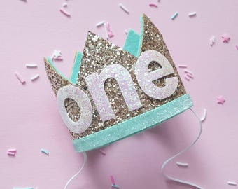 Birthday Crown || Mint and Gold Birthday || Gold and Mint || Gold Crown || Birthday Girl || First Birthday || Baby Crown || Birthday Girl