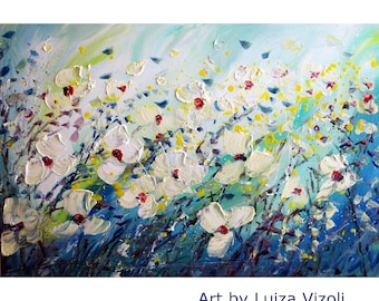 Flowers Abstract Windy Day Daisy Floral Original Painting on Canvas