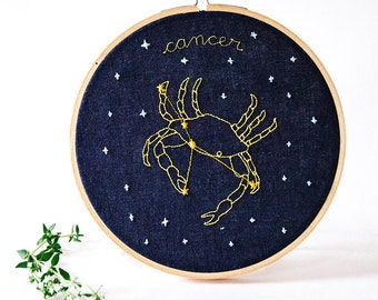Cancer (June 21 - July 22) zodiac embroidery