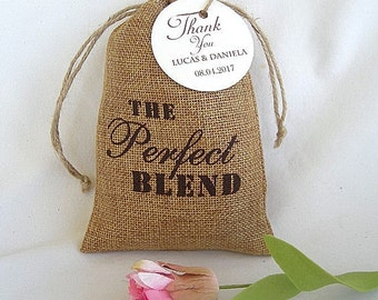 Wedding Favor Bags Bag Burlap Thank You Coffe Favor Bags w Custom Tags Personalized The Perfect Blend 4x6 Coffee Tea Thank You Favors Bags