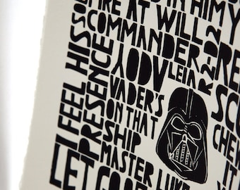 Star Wars Art Print - Return of the Jedi, kids wall art, children decor, inspirational fun geek quote - Lino art letterpress black